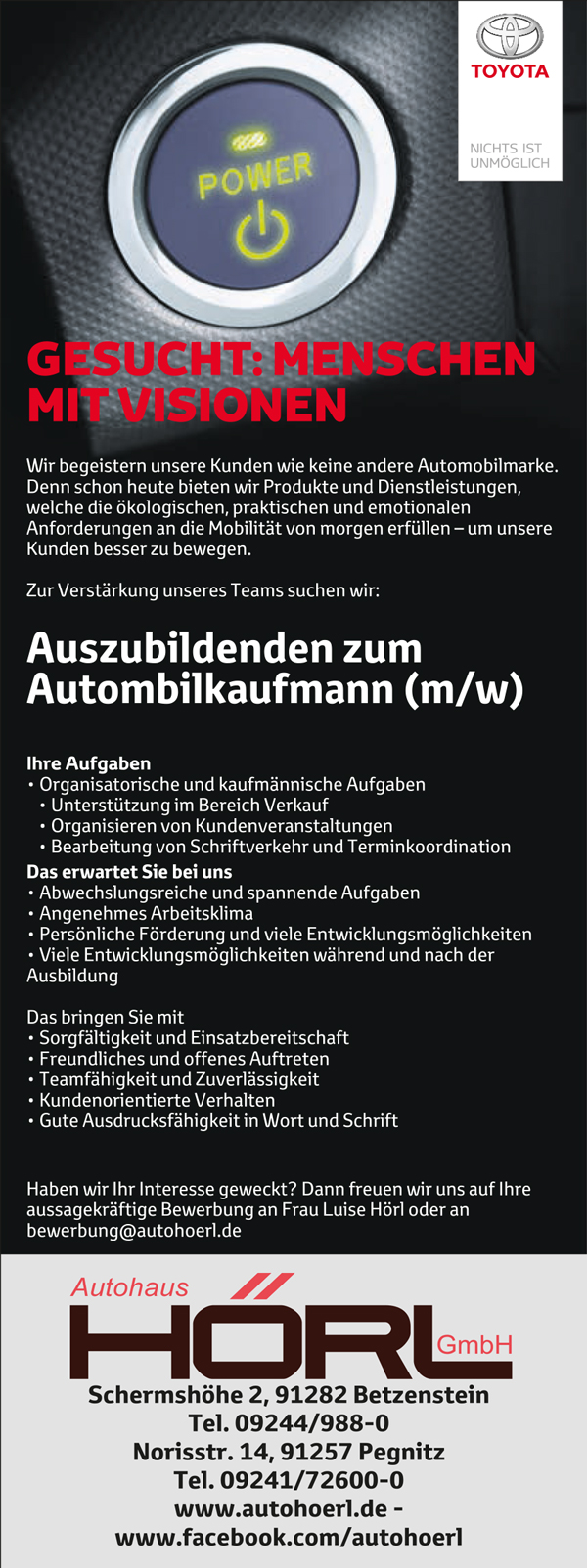 Stellenangebot Automobilkaufmann/frau