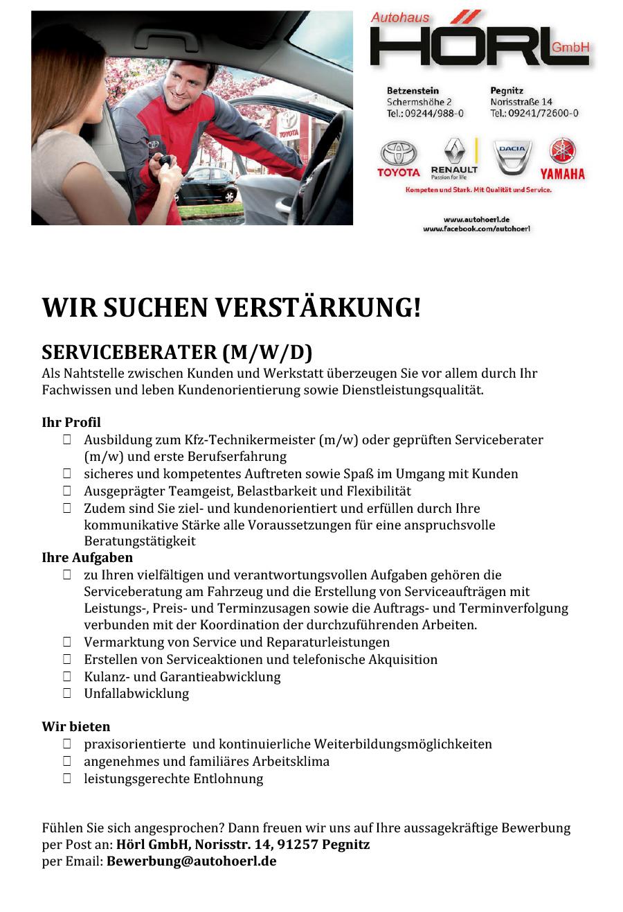 Anzeige Serviceberater für Pegnitz