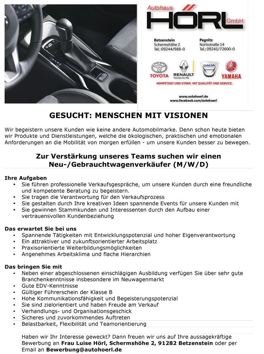 Anzeige Automobil-Verkäufer gesucht
